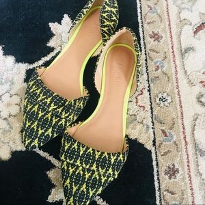 J. Crew Citron & Black Patterned Flats